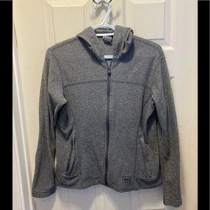 REI ladies gray zip up fleece hoodie small